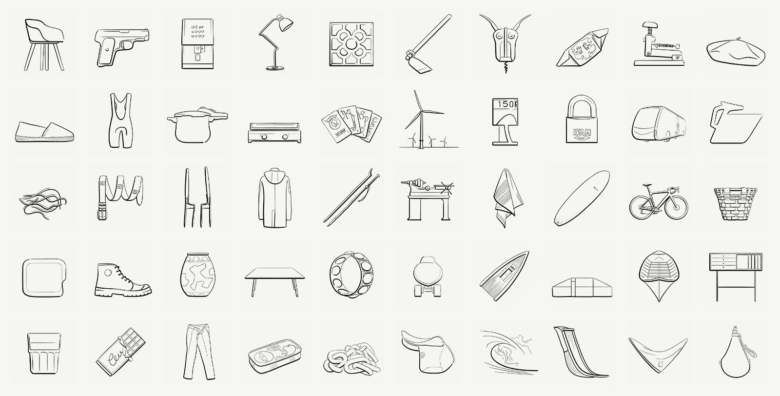 Illustrations of the 50 iconic objects from the Basque Country